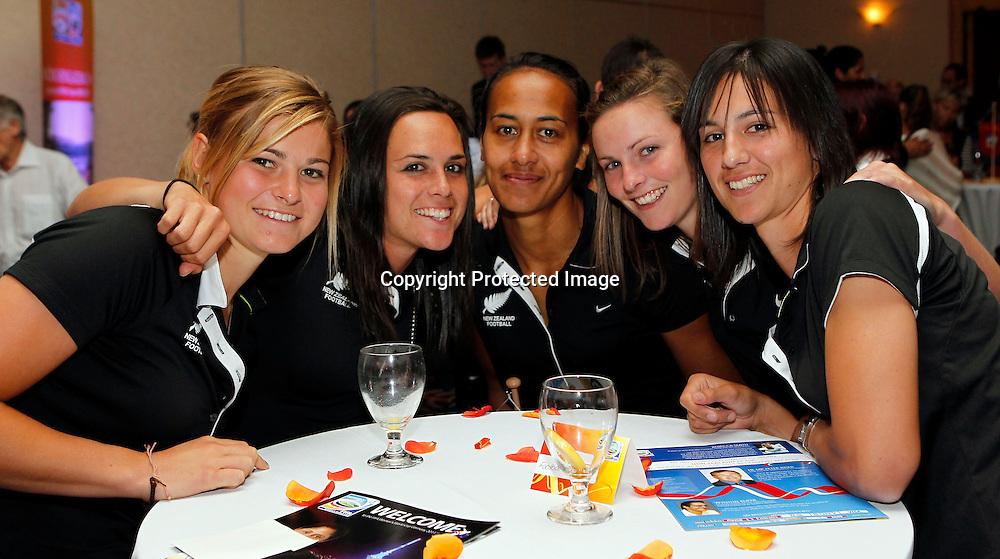 Left to right Football Ferns Rosie White, Emma Kete, Kristy Hill, Anna Green and Abby Erceg. FIFA Women's World Cup 2011 Official Countdown, Crowne Plaza Hotel, Auckland, Friday 10th December 2010. Photo: Shane Wenzlick