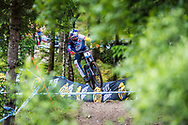 Marcelo Gutierrez Villegas on his way to 4th place during his race run  at the Fort William UCI Mountain Bike World Cup.