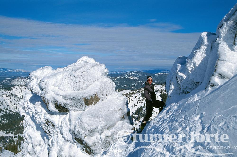 Climbing to the summit of Alpine Meadows, Lake Tahoe, California