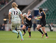 Twickenham, United Kingdom. Carly BLISS, running of the back of the scrum, collect's the pass from Jesse van der GRIENT, during the 2015 Women's Varsity Match, Oxford vs Cambridge, RFU Twickenham Stadium, England.<br /> <br /> Thursday  10/12/2015<br /> <br /> [Mandatory Credit. Peter SPURRIER/Intersport Images].