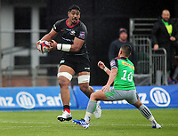 Rugby Union - 2019 / 2020 Premiership Rugby Cup - Saracens vs. Harlequins<br /> <br /> Will Skelton of Saracens feeds the ball to Ben spencer to score his 2nd try (Sarcens third), at Allianz Park.<br /> <br /> COLORSPORT/ANDREW COWIE