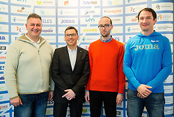 Vladimir Kevo, Roman Dobnikar, Luka Steiner and Primoz Kozmus during press conference when Slovenian athletes and their coaches sign contracts with Athletic federation of Slovenia for year 2016, on February 25, 2016 in AZS, Ljubljana, Slovenia. Photo by Vid Ponikvar / Sportida