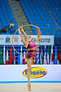 Romanova Eleonora during qualifying at hoop in Pesaro World Cup at Adriatic Arena on April 10,2015. Eleonora was born August 17,1998 in Krasnodonl, Ukrain. After september 2016 obtained Russian citizenship, and become a Russian individual rhythmic gymnast.
