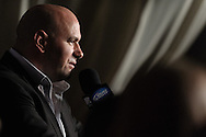 """MANCHESTER, ENGLAND, NOVEMBER 14, 2009: UFC president Dana White addresses the media during the post-fight press conference for """"UFC 105: Couture vs. Vera"""" inside the MEN Arena in Manchester, England"""