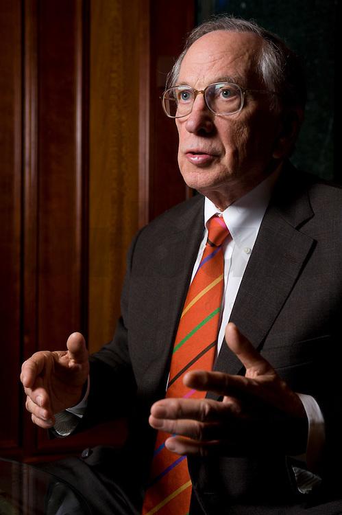 """2008, BERLIN/GERMANY:<br /> Samuel Augustus """"Sam"""" Nunn, US-amerikanischer Geschäftsmann und Politiker der Demokraten, ehem. Senator im US-Senat, waehrend einem Interview, Hotel Adlon<br /> IMAGE: 20080612-01-006"""