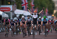 Jake Stewart crosses the line to win the Prudential RideLondon Grand Prix Youth Boys' Race, during Prudential RideLondon,  2015 Saturday 1st August, 2015. <br /> <br /> Prudential RideLondon is the world's greatest festival of cycling, involving 95,000+ cyclists – from Olympic champions to a free family fun ride - riding in five events over closed roads in London and Surrey over the weekend of 1st and 2nd August 2015. <br /> <br /> Photo: Jon Buckle for Prudential RideLondon<br /> <br /> See www.PrudentialRideLondon.co.uk for more.<br /> <br /> For further information: Penny Dain 07799 170433<br /> pennyd@ridelondon.co.uk