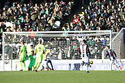 GOAL The ball is in the back of the net after St Mirren forward Simeon Jackson (11) scores to make it 1-0 during the Ladbrokes Scottish Premiership match between St Mirren and Hibernian at the Paisley 2021 Stadium, St Mirren, Scotland on 27 January 2019.