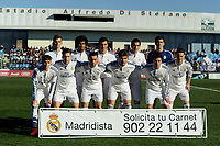 Real Madrid Castilla´s Ruben Yanez, Varela, Noblejas, Derik, Llorente, Torrio, Alvaro, Aguiza, Narvaez, Javi Munoz and Burgui during 2014-15 Spanish Second Division match between Real Madrid Castilla and Athletic Club B at Alfredo Di Stefano stadium in Madrid, Spain. February 08, 2015. (ALTERPHOTOS/Luis Fernandez)