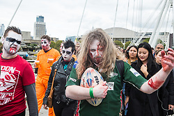 London, UK. 5 October, 2019. Revellers dressed as zombies celebrate an early Halloween on World Zombie Day. The event is the last organised by World Zombie Day: London. Funds raised by the event support homeless charity City Harvest, which rapidly rescues surplus food and uses it to feed the homeless.