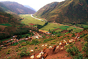 PERU, HIGHLANDS, CUZCO AREA The Urubamba River Valley or Sacred Valley of Incas, between Vilcabamba and the Urubamba Mountains near Pisac