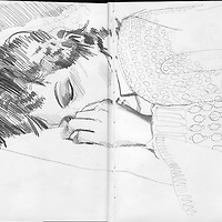 Sketchbook drawing of a young woman sleeping