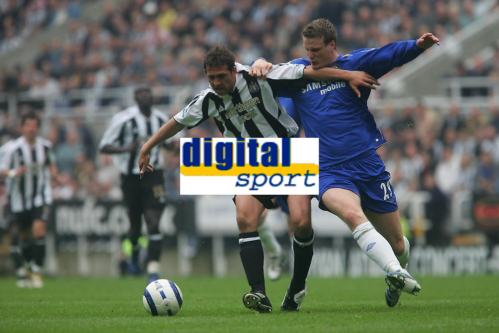 Photo: Andrew Unwin.<br /> Newcastle United v Chelsea. The Barclays Premiership. 07/05/2006.<br /> Newcastle's Michael Chopra (L) looks to hold off Chelsea's Robert Huth (R).