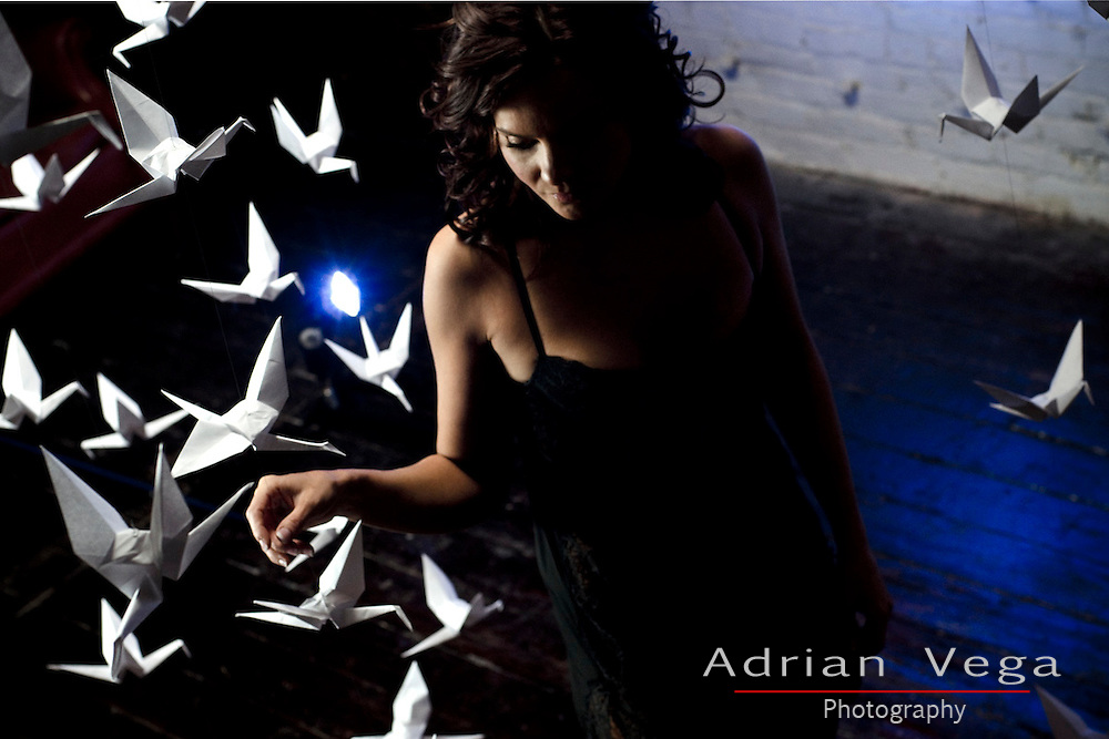 Lady in lingerie and origami birds