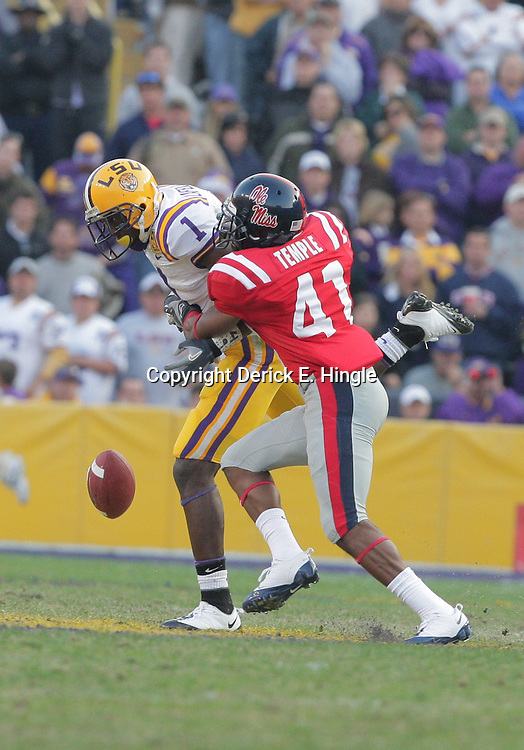 22 November 2008: Mississippi cornerback Marcus Temple (41) breaks up a pass intended for LSU wide receiver Brandon LaFell (1) during the Ole Miss Rebels 31-13 victory over the LSU Tigers at Tiger Stadium in Baton Rouge, LA.