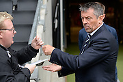 Southend United manager Phil Brown signs autographs during the EFL Sky Bet League 1 match between Milton Keynes Dons and Southend United at stadium:mk, Milton Keynes, England on 22 October 2016. Photo by Dennis Goodwin.