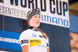 Yana Belomoina of Ukraine wins the 2014 UCI Mountainbike World Cup in the women's U23.