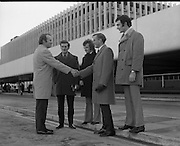 Irish Showjumping Team at Dublin Airport.<br /> 1972<br /> 28.11.1972.<br /> 11.28.1972.<br /> 28th November 1972.<br /> Image shows the Irish Showjumping team outside the arrivals terminal at Dublin Airport.
