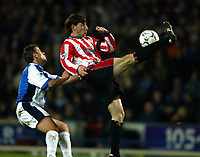Blackburn's Tugay and Southampton's Rory Delap during the relegation dog-fight at Ewood Park,  Blackburn.<br />