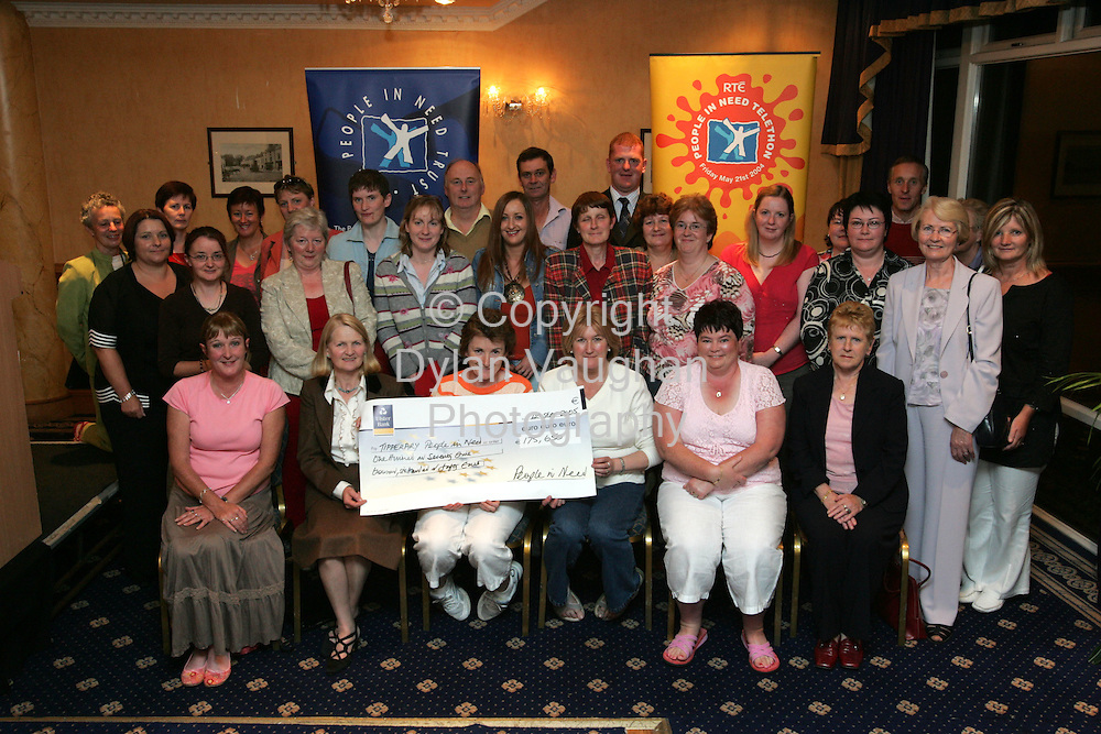 Monday 12th September sees the presentation of grant cheques by David Harvey, Chairman of People in Need Trust and Des Whelan, Board member People in Need to People in Need representative on behalf of all Tipperary charities.          ..Pictured at the presentation was various charities who received money from the People in Need Trust which included Irish Red Cross, Clonmel Community Based Drugs Initiative, Down Syndrome, Sacred Heart Special Olympics, Suir Valley Community Based Drug Initiative, Tipperary Special Olympics, Laochra Arann Junior Special Olympics, Borrisokane Area Network Development, Nenagh Mental Health Association, Golden Years Day Centre, Clonmel Youth Resource Centre, The Carers Association, Cappawhite Community Council, Nenagh Community Network, North Tipperary Dyslexia Support Group, Nenagh Childcare Centre, Scoil Aonghsa Special Olympics, Knockanrawley Resource Centre, Irish Wheelchair Association, St Vincents Day Centre for Elderly, Aras Mhuire Day Care Centre, St Cronan's Association, Killeen Community Hall, Fethard and District Day Care Centre, Roscrea 2000 and North Tipperary Disability Support Service..This, the eighth RTÉ People in Need Telethon supported by eircom, was one of the most successful to date, with over EUR5.3 million being distributed in funds.  Over 4,000 fund-raising events took place involving thousands of people throughout the country. A cornerstone of the People in Need Trust is that funds raised in a county are allocated back to charitable organisations in that county.  .Picture Dylan Vaughan..For further information, please contact .Nicky Crichton / Caroline Somers .Fleishman - Hillard .01 6188461 / 01 6188408