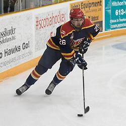 TRENTON, ON - FEB 23, 2018: Ontario Junior Hockey League game between the Trenton Golden Hawks and the Wellington Dukes. Keegan Ferguson #26 of the Wellington Dukes skates with the puck.<br /> (Photo by John Lewis / OJHL Images)