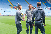 Leeds United defender Ben White (5) and Leeds United midfielder Kalvin Phillips (23) arrive at the ground during the EFL Sky Bet Championship match between Leeds United and Swansea City at Elland Road, Leeds, England on 31 August 2019.