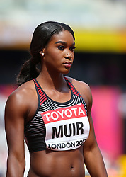 London, 2017 August 06. Carline Muir awaits the start of heat five of the Women's 400m on day three of the IAAF London 2017 world Championships at the London Stadium. © Paul Davey.