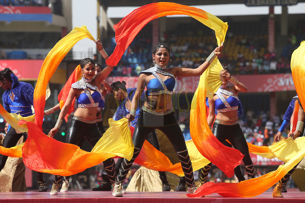 Artists perform during the opening ceremony before match 4 of the Vivo 2017 Indian Premier League between the Kings XI Punjab and the Rising Pune Supergiant held at the Holkar Cricket Stadium in Indore, India on the 8th April 2017<br /> <br /> Photo by Shaun Roy - IPL - Sportzpics