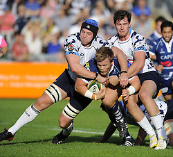 Bristol Rugby's Rhys Lawrence is held up by the Bedford defence - Photo mandatory by-line: Joe Meredith/JMP - Tel: Mobile: 07966 386802 06/10/2013 - SPORT - FOOTBALL - RUGBY UNION - Memorial Stadium - Bristol - Bristol Rugby V Bedford Blues - The Championship