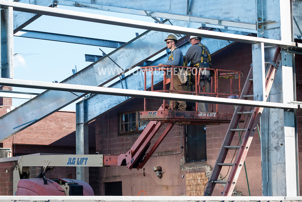 Middletown, New York - Construction continues on the steel frame of the building that will house the new pool at the YMCA of Middletown on March 2, 2016.