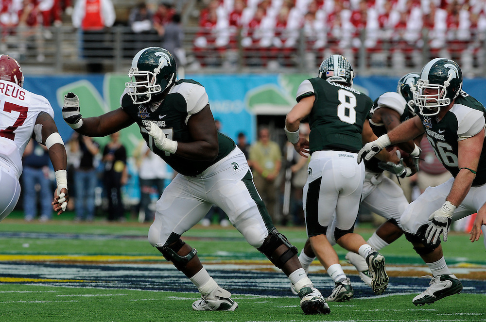 January 1, 2011: J'Michael Deane of the Michigan State Spartans in action during the NCAA football game between MSU and the Alabama Crimson Tide at the 2011 Capital One Bowl in Orlando, Florida. Alabama defeated Michigan State 49-7.