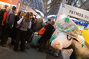 Buchmesse Frankfurt, biggest book fair in the World. A cow at Patmos publishing.