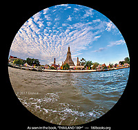 Wat Arun on the banks of the Chao Phraya River in Bangkok, Thailand