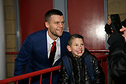 Middlesbrough midfielder Jonathan Howson (16) posing for a photograph with a fan during the EFL Sky Bet Championship match between Middlesbrough and Derby County at the Riverside Stadium, Middlesbrough, England on 27 October 2018.