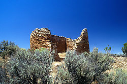 """Hovenweep National Monument ruins.  This 505-acre preservation includes six clusters of ancient Pueblo Indian ruins in the Four Corners area of southeastern Utah.  Unoccupied for more than 700 years. Name is Ute for """"deserted valley."""" (No people in photograph)."""