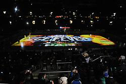08.01.2012, Arena Zagreb, Zagreb, CRO, EBEL, KHL Medvescak Zagreb vs HK Acroni Jesenice, im Bild Features aus der Halle in Zagreb, Laserprojektion auf die Eisfläsche before ice-hockey match between KHL Medvescak Zagreb and HK Acroni Jesenice in 39th Round of EBEL league, on Januar 8, 2012 at Arena Zagreb, Zagreb, Croatia. EXPA Pictures © 2012, PhotoCredit: EXPA/ NPH/ Pixsell/ Goran Jakus..***** ATTENTION - OUT OF GER, CRO *****