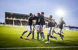 Falkirk's Blair Alston celebrates after scoring their goal. <br /> Falkirk 1 v 1 Hibernian, Scottish Championship game played 17/1/2015 at The Falkirk Stadium.
