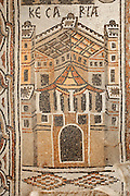 Detail of a Byzantine floor mosaic depicting Kesaria (modern day Caesarea in Israel), from the cycle showing 15 major cities of the Holy Land from both east and west of the River Jordan, 756-785 AD, from the Church of St Stephen, Umm ar-Rasas, Amman, Jordan. Six mosaic masters signed the mosaic floor, Staurachios from Esbus, Euremios, Elias, Constantinus, Germanus and Abdela. They completed the mosaics at the time of Bishop Sergius II in honour of St Stephen. The church has an apse and an elevated presbytery and forms part of an ecclesiastical complex of 4 churches. Umm ar-Rasas is a rectangular walled city which grew from a Roman military camp in the Jordanian desert. Its remains date from the Roman, Byzantine and Umayyad periods (3rd - 9th centuries), including 16 churches with mosaic floors. Excavations began in 1986, although most of the site remains unexplored. It was declared a UNESCO World Heritage Site in 2004. Picture by Manuel Cohen