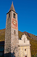 Church tower in Loco in the Valle Onsernone Ticino, Southern Switzerland.