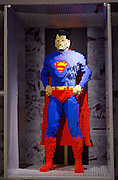 THE ART OF THE BRICK: DC SUPER HEROES <br /> designed by Nathan Sawaya <br /> South Bank, London, Great Britain <br /> 28th February 2017 <br /> <br /> London debut opens on 1st March 2017<br /> <br /> <br /> Superman <br /> <br /> Together with Warner Bros. and DC Entertainment, Nathan Sawaya has created the world&rsquo;s largest collection of artwork inspired by DC's Justice League, including Batman, Superman, Wonder Woman, alongside DC Super-Villains the Joker, Harley Quinn and more.<br />  <br /> <br />  <br /> THE ART OF THE BRICK: DC SUPER HEROES exhibition includes more than 120 original pieces, created exclusively from LEGO bricks, including a life-size Batmobile (5.5 meters) and built from half a million standard pieces. Sawaya has captured on a real scale some of the most iconic Super Heroes and Super-Villains from DC, exploring more than 80 years of history.<br /> <br /> <br /> <br /> Photograph by Elliott Franks <br /> Image licensed to Elliott Franks Photography Services