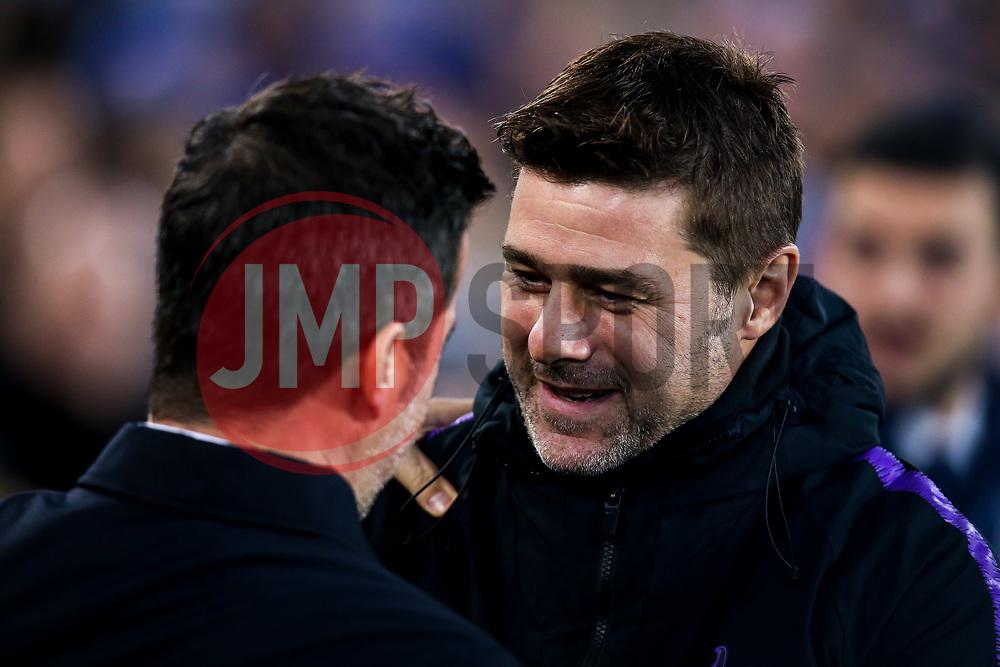 Tottenham Hotspur manager Mauricio Pochettino speaks with Everton manager Marco Silva - Mandatory by-line: Robbie Stephenson/JMP - 23/12/2018 - FOOTBALL - Goodison Park - Liverpool, England - Everton v Tottenham Hotspur - Premier League
