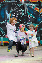 Repro Free: 12/05/2014 Dublin <br /> Douglas (5) and Alexandra Kelly (4) from Stepaside, Dublin along with Sarah Collins from Galway are pictured getting colourfull as the Irish Cancer Society and Crown call on people to add some colour to their lives and sign up today to take part in the Irish Cancer Society&rsquo;s Colour Dash. Together, we won&rsquo;t give up until cancer does. To register for your place CallSave our team on 1850 60 60 60 or visit www.cancer.ie 