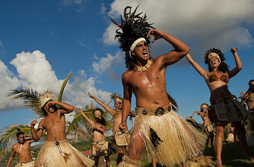 Traditional dancers on Rapa Nui (Easter Island) in the Pacific.