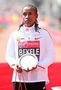Tadelech Bekele (ETH) poses after placing third in the women's race in 2:21:40 in the London Marathon in London, Sunday, April 22, 2018. (Jiro Mochizuki/Image of Sport)