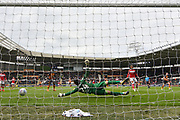 Hull City midfielder Jackson Irvine (16) scores goal to go 1-0 during the EFL Sky Bet Championship match between Hull City and Bristol City at the KCOM Stadium, Kingston upon Hull, England on 5 May 2019.