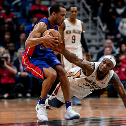 Jan 8, 2018; New Orleans, LA, USA; New Orleans Pelicans forward Dante Cunningham (33) dives for the ball in a scramble with Detroit Pistons guard Avery Bradley (22) during the second half at the Smoothie King Center. The Pelicans defeated the Pistons 112-109. Mandatory Credit: Derick E. Hingle-USA TODAY Sports