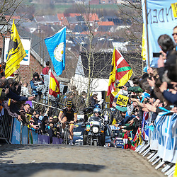 05-04-2015: Wielrennen: Ronde van Vlaanderen vrouwen: Belgie<br /> OUDENAARDE (BEL) cyclingThe 3th race in the UCI womens World Cup is the 12th edition of the Ronde van Vlaanderen. The race distance is 145 km with 12 Climbs and 5 zones of Cobbles. Leader Elisa Longo Borghini riding on the Oude Kwaremont with a lot of cycling fans on the climb