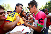Rigoberto Uran (COL - EF Education First - Drapac) fans, autograph, during the UCI World Tour, Tour of Spain (Vuelta) 2018, Stage 5, Granada - Roquetas de Mar 188,7 km in Spain, on August 29th, 2018 - Photo Luca Bettini / BettiniPhoto / ProSportsImages / DPPI