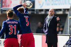 Nico Tagliafico of Ajax, Max Wober of Ajax, coach Erik ten Hag of Ajax during the Dutch Eredivisie match between Sparta Rotterdam and Ajax Amsterdam at the Sparta stadium Het Kasteel on March 18, 2018 in Rotterdam, The Netherlands