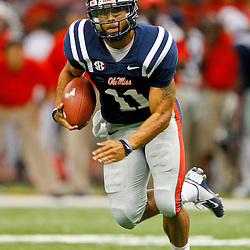 September 22, 2012; New Orleans, LA, USA; Ole Miss Rebels quarterback Barry Brunetti (11) runs against the Tulane Green Wave during the second half of a game at the Mercedes-Benz Superdome. Ole Miss defeated Tulane 39-0. Mandatory Credit: Derick E. Hingle-US PRESSWIRE