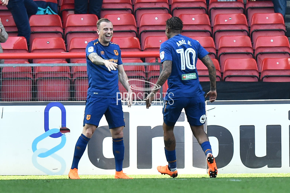 Goal - Kamil Grosicki (7) of Hull City celebrates scoring a goal to make the score 4-5 during the EFL Sky Bet Championship match between Bristol City and Hull City at Ashton Gate, Bristol, England on 21 April 2018. Picture by Graham Hunt.